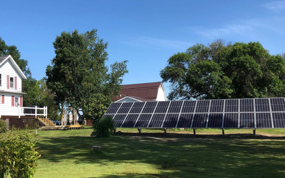 Ground mounted solar panels for an off grid solar system.