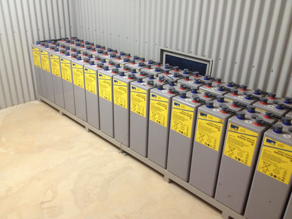 Solar battery bank in action