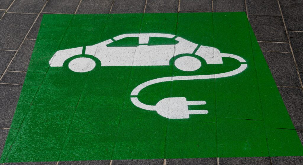 Sustainable living: drive and electric car.