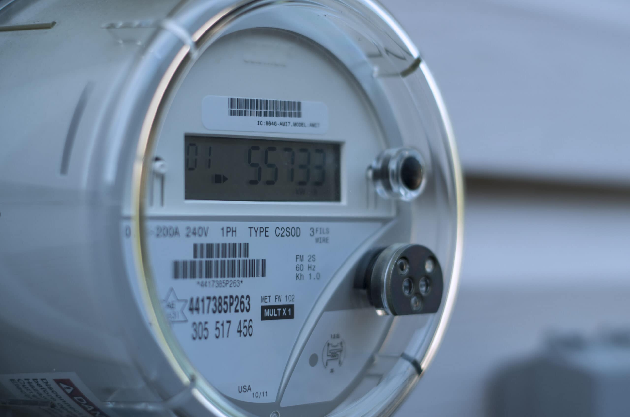 An electricity meter measuring a home's energy consumption